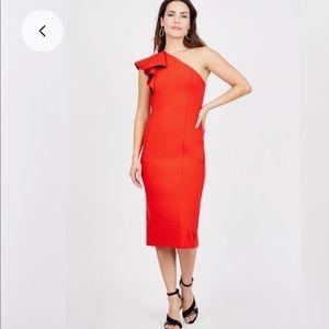 Rachel Roy Red One Shoulder Ruffle Dress